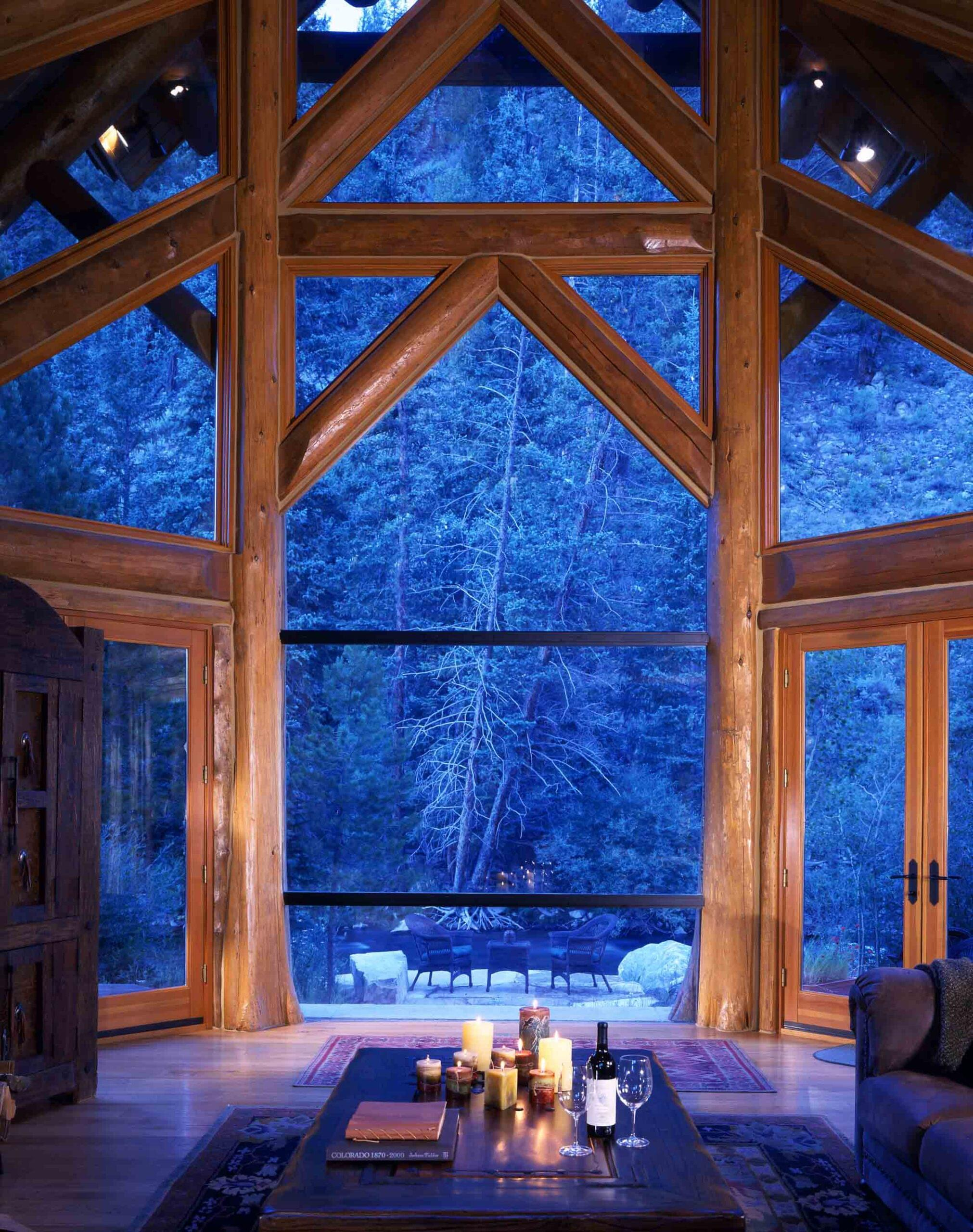Trimless log cabin window invites beauty